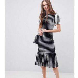 ASOS Blk white short slv stripe pep hem midi dress